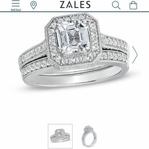 Zales Asscher cut  sterling silver bridal set